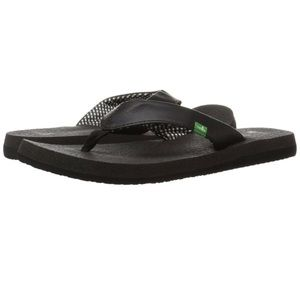 Sanuk Yoga Mat Flip Flop Sandals Black